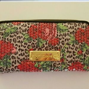 Betsey Johnson Bags - Betsey Johnson floral rose print sequin wallet